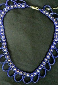 Beaded collar, blue and gold